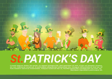 St. Patricks Day Background With Group Of People In Green Hats Drinking beer Celebrating Flat Vector Illustration