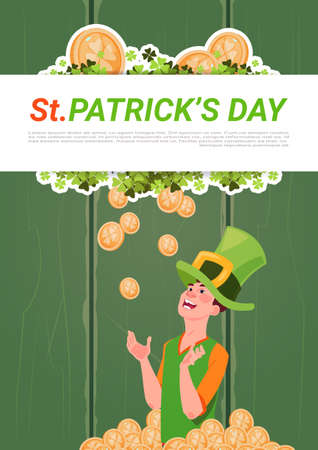 Saint Patricks day banner with man in leprechaun hat over golden coins background flat vector illustration.