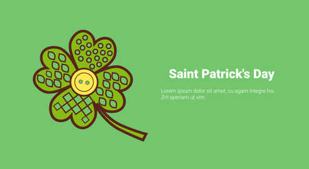 Lucky Clover Leaf With Golden Coin On Saint Patricks Day Template Background With Copy Space Vector Illustration