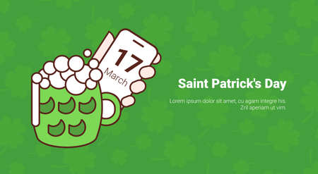 Green Glass With Beer Over Saint Patricks Day Banner With Clover Template Background Vector Illustration Illustration