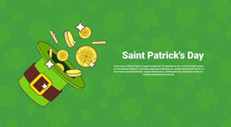 Leprechaun Hat With Gold Over Saint Patricks Day Banner With Green Clover Template Background Vector Illustration Illustration