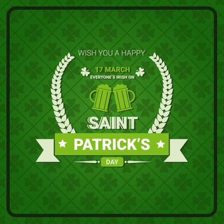 Saint Patricks Day Sign On Retro Poster Holiday Green Vintage Background Flat Vector Illustration
