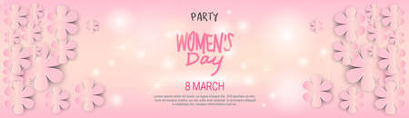 Happy Women's Day Template Background Horizontal Banner Beautiful 8 March Decoration Poster Vector Illustration