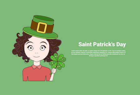 Young Girl In Leprechaun Hat Holding Shamrock Over Template Saint Patricks Day Background Vector Illustration Stock Photo
