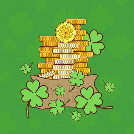 Saint Patricks Day Card With Treasure of Leprechaun Golden Coins, On Green Shamrock Background Vector Illustration