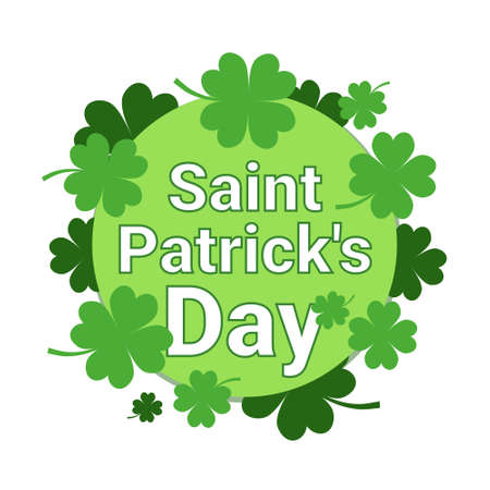Saint Patricks Day Background Traditional Irish Holiday Greeting Card With Shamrock Leaves Flat Vector Illustration Stock Photo