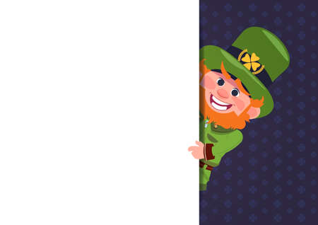 Cute Leprechaun Looking From White Template Banner St. Patricks Day Card Design Background Flat Vector Illustration. Illustration