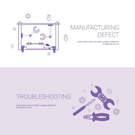 Manufacturing Defect And Troubleshooting Concept Template Web Banner With Copy Space Vector Illustration