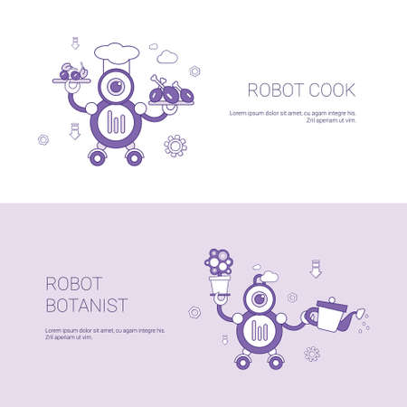 Robot Cook And Botanist Concept Template Web Banner With Copy Space Vector Illustration.