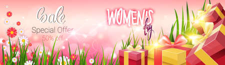Womens Day Sale Discount Card Special Offer And Promotion Template Poster Design Vector Illustration