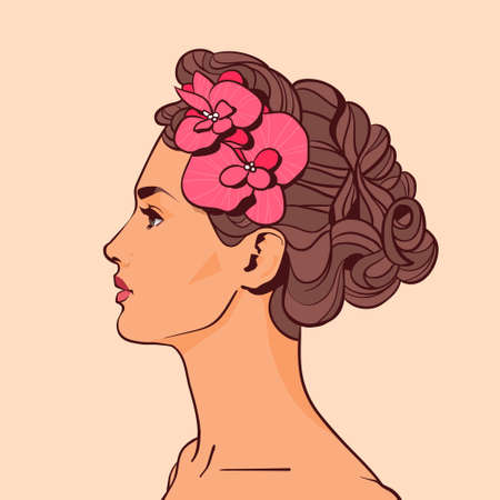 Beautiful Woman Profile With Flowers In Elegant Hairstyle Attractive Girl On Beige Background Vector Illustration