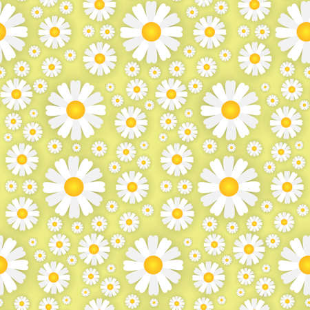 White Chamomile Flowers On Yellow Background Seamless Pattern Beautiful Floral Ornament Template Vector Illustration Illustration