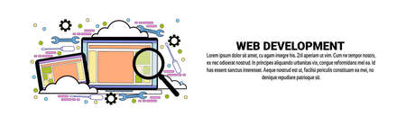 Web Development Concept Horizontal Banner With Copy Space Vector Illustration