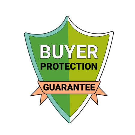 Buyer protection guarantee shield symbol icon illustration.