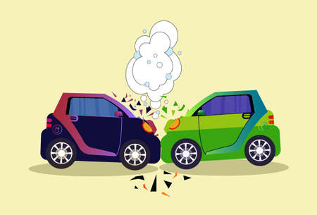 Accident On Road Concept Flat Illustration