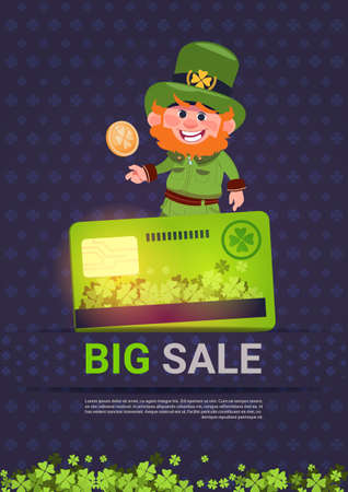 Sale For St. Patrick's Day Holiday Discounts Poster Template Background Vector Illustration