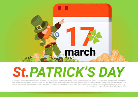 Happy St. Patricks Day Poster Green Leprechaun Over Calendar With 17 March Flat Vector Illustration Illustration