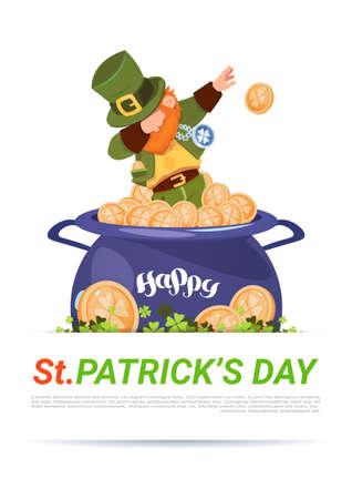 Leprechaun On POt With Golden Coins Over Happy St. Patricks Day Background Flat Vector Illustration