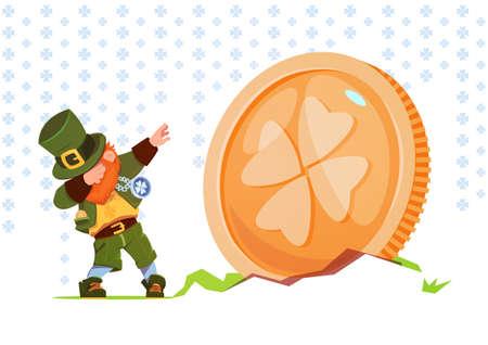 Happy St. Patricks Day Background Green Man Leprechaun Over Golden Coin With Clover Sing Flat Vector Illustration Illustration