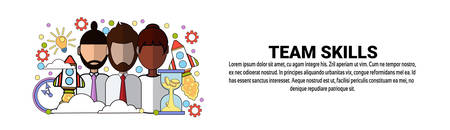 Team Skills Development Business Concept Horizontal Banner With Copy Space Vector Illustration.