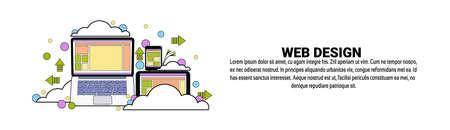 Web Design Development Concept Horizontal Banner With Copy Space Flat Vector Illustration.