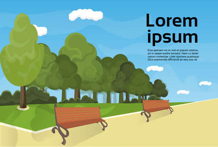 City Park Wooden Bench, Green Lawn And Trees On Template Background Flat Vector Illustration.