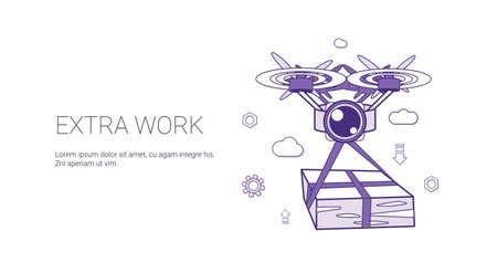 Plantilla de trabajador de sobrecarga de trabajo adicional Banner web con ilustración de Vector de espacio de copia Ilustración de vector