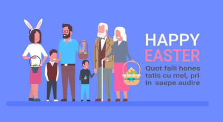 Big Family Celebrate Happy Easter Template Poster With People Holding Basket With Eggs And Wearing Bunny Ears Flat Vector Illustration
