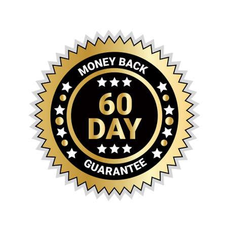 Money Back In 60 Days Guarantee Badge Golden Medal Isolated Vector Illustration Vettoriali