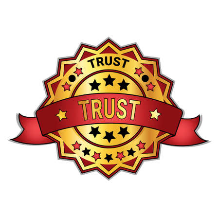 Trust Badge Or Sticker Isolated On White Background Golden Guarantee Sign Vector Illustration