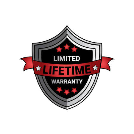 Limited Lifetime Warranty Sign Silver Shield Seal Isolated Vector Illustration Vettoriali