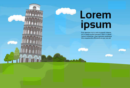 Pisa Tower Landscape Famous Italy Landmark View Flat Vector Illustration