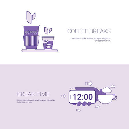 Coffee Breaks And Time For Rest Template Web Banner With Copy Space Vector Illustration