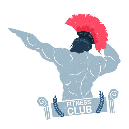 Creative Fitness Club Logo With Bodybuilder Man Silhouette Modern Sport Center Icon Template Isolated On White Background Vector Illustration