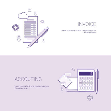 Invoice And Accounting Financial Template Web Banner With Copy Space Vector Illustration