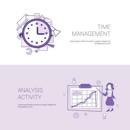 Woman image showing graph on time management illustration