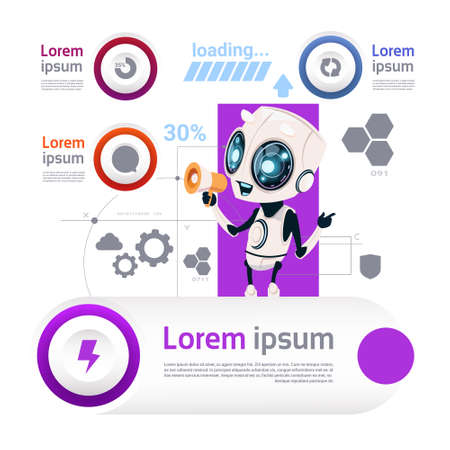 Robots And Modern Technology Template Infographic Elements Artificial Intelligence Concept Flat Vector Illustration
