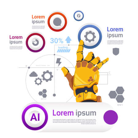 Robotic Hand Over Template Infographics Banner For Modern Robots Technology Artificial Intelligence Concept Flat Vector Illustration
