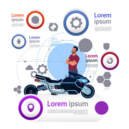 Man And Motorcycle Over Template Transportation Infographics Banner With Copy Space Flat Vector Illustration