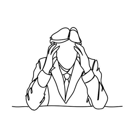 Doodle Frustrated Business Man Holding Head Stress Or Headache Concept Vector Illustration