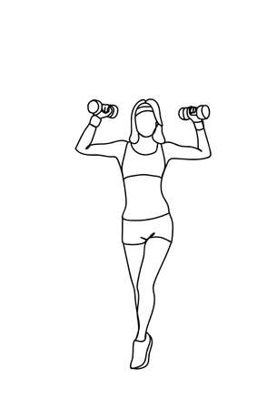Silhouette Woman Training With Weights Workout Exercise Doodle Female Fitness And Aerobic Concept Vector Illustration
