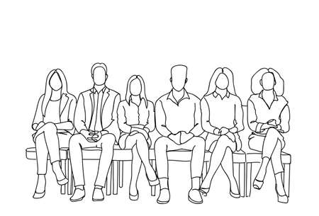 Group Of Business People Sitting In Line Waiting For Interview Doodle Human Resources Concept Vector Illustration Vettoriali