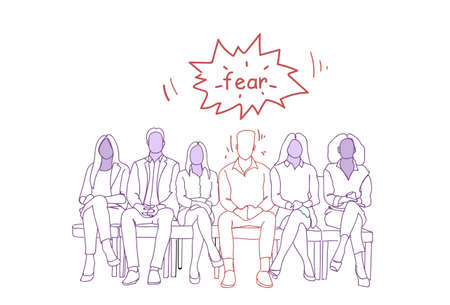 Nervous Man Sitting With Group Of People In Line Waiting For Job Interview Doodle Human Resources Concept Vector Illustration