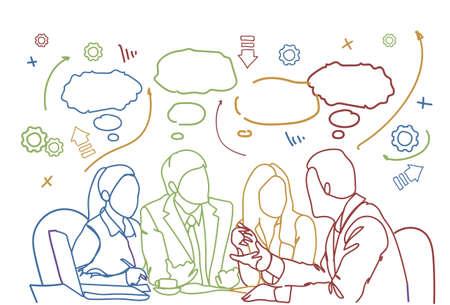 Business People Team Sit At Desk Together Communication Discussion Or Brainstorming Meeting Doodle Background Vector Illustration