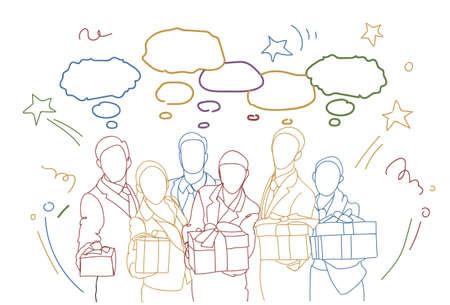 Group Of Business People Holding Gift Boxes vector illustration Ilustração