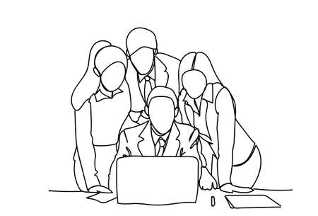 Business People Team Looking At Laptop Computer Discussion Or Brainstorming Meeting Doodle Vector Illustration