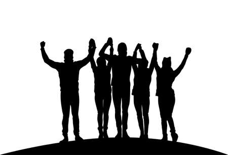 Grupa przedsiębiorców trzymając podniesione ręce szczęśliwy udany zespół czarne sylwetki wektor ilustracja