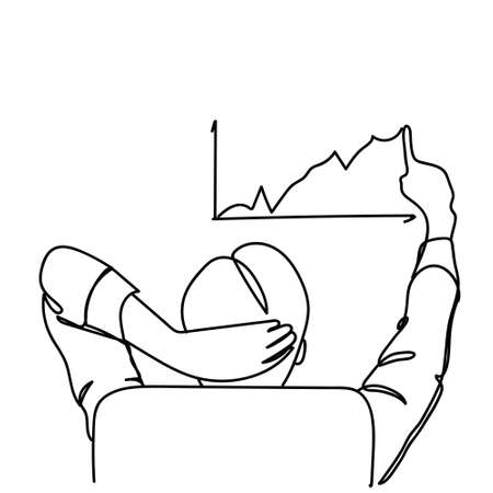 Back View Of Business Man Sitting In Office Chair Drawing Chart Arrow Up Growth, Statistics Report Concept Doodle Vector Illustration