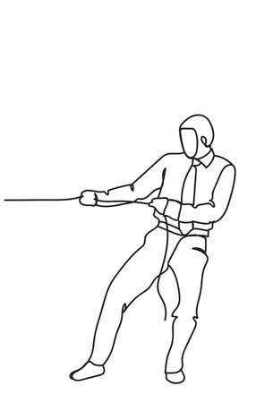 Hand Drawn Business Man Pulling Rope Strong Competition Concept Vector Illustration 일러스트