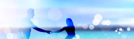Belle plage de fond de plage avec silhouette silhouette tenir les mains se tenir vers le flou de texte de la côte horizontale bannière illustration vectorielle Banque d'images - 97188924